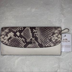 Coach Soft Wallet Mix Snake Embossed Leather Trim